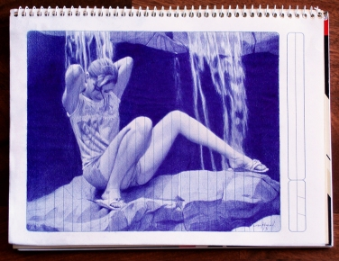 "Ballpoint Pen Study -""Before the Bath"" - Ballpoint Pen Artwork on paper"