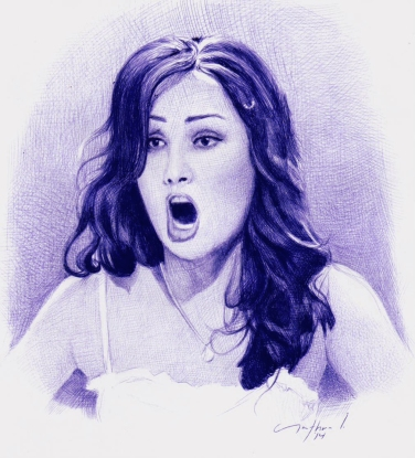 """Anna Netrebko"" Ballpoint Pen Artwork / Sketch"