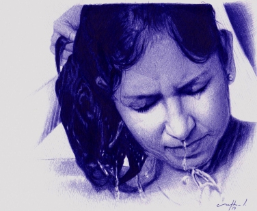 Split Second - Ballpoint pen Artwork on paer
